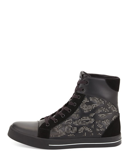 Men's Leather Studded High-Top Sneaker, Black