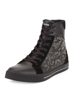 Just Cavalli Men's Leather Studded High-Top Sneaker, Black