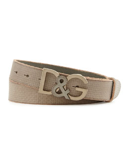 Dolce & Gabbana Stamped Leather D&G Belt, Grey
