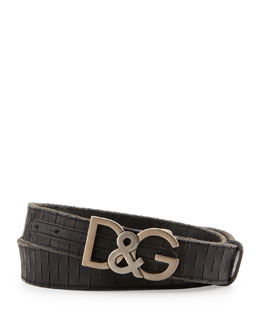 Dolce & Gabbana Slash-Leather D&G Logo-Buckle Belt, Black