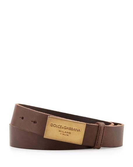 Logo-Plaque Leather Belt, Brown