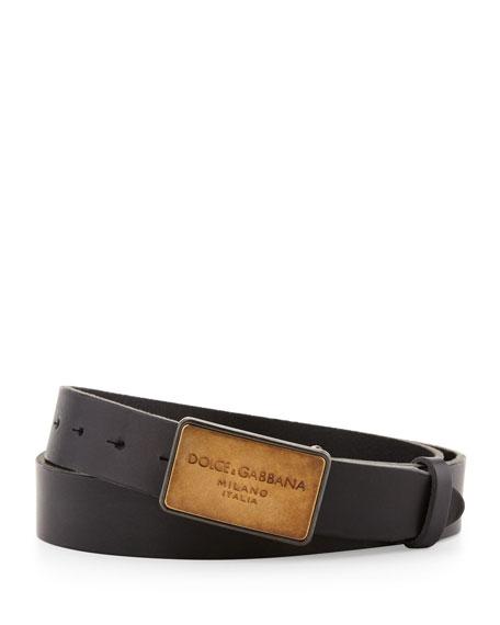 Logo-Plaque Leather Belt, Black