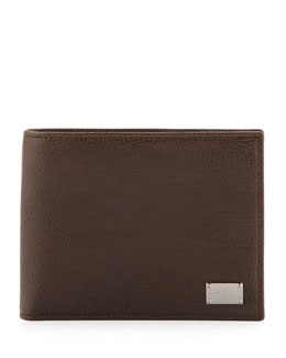Dolce & Gabbana Pebbled Leather Logo Wallet, Brown