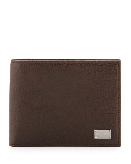 Pebbled Leather Logo Wallet, Brown