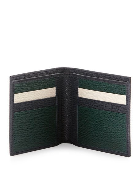 Bicolor Leather Wallet, Navy/Green
