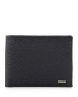Dolce & Gabbana Bicolor Leather Wallet, Navy/Green