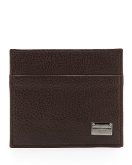 Dolce & Gabbana Pebbled Logo Card Case, Dark Brown