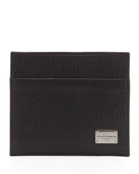 Logo Plaque Credit Card Holder, Black