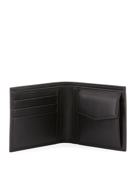 Perforated Coin-Pocket Logo Wallet, Black