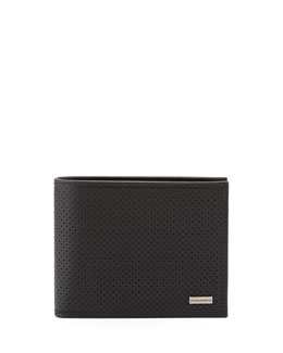 Dolce & Gabbana Perforated Coin-Pocket Logo Wallet, Black