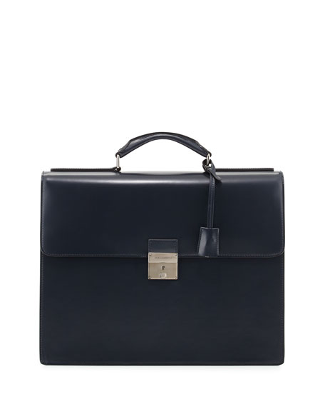 Smooth Leather Double-Gusset Briefcase, Navy