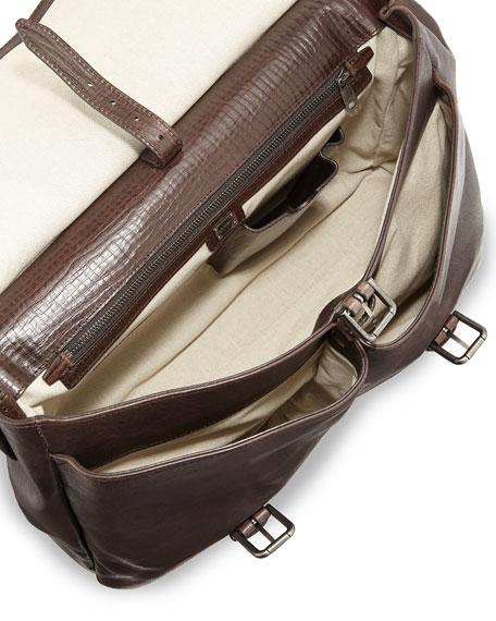 Kangaroo & Calfskin Briefcase, Brown