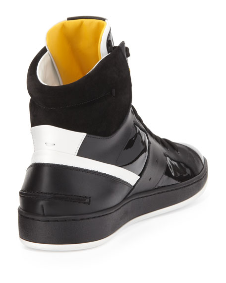 Men's Mixed-Leather High-Top Sneaker, Black