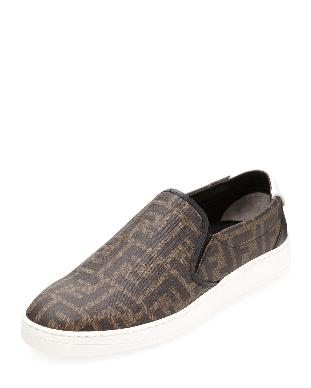 John Varvatos Star USA Schooner Clip Suede Loafer, NavyFendi Zucca-Print Slip-On Sneaker, Tobacco