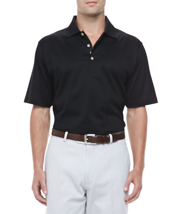 Knit-Collar Short-Sleeve Polo, Black
