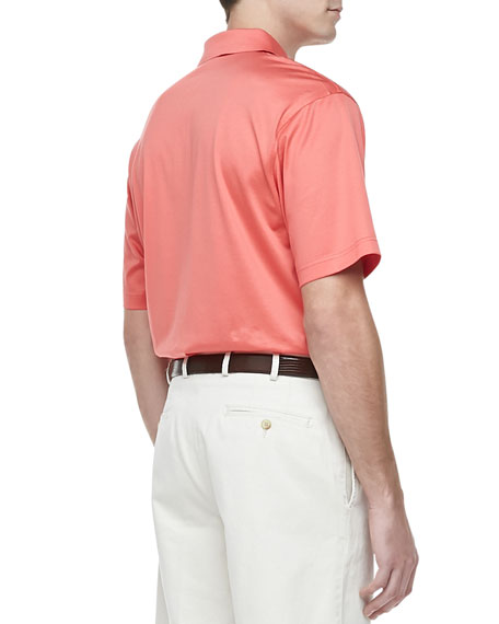 Lisle-Knit Cotton Polo, Pink