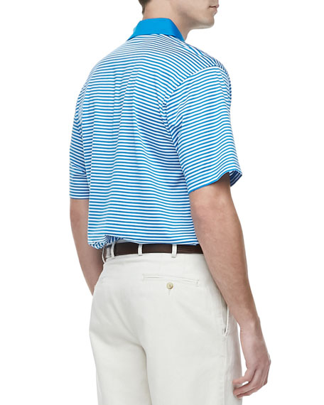 Classic Striped Knit Polo, Blue/White