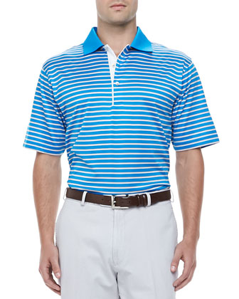 Bugle Striped Polo Shirt, Blue/Orange