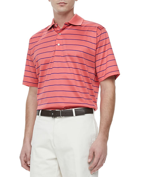 Striped Short-Sleeve Polo, Red/Blue