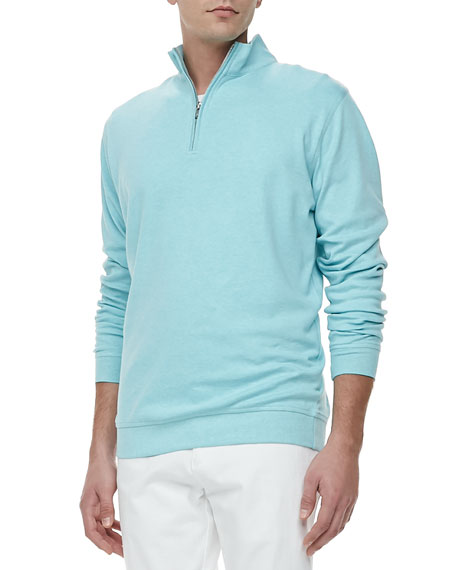 Fleece Mock-Neck Pullover, Blue