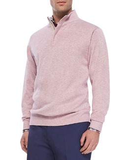 Peter Millar Quarter-Zip Pullover Sweater, Pink