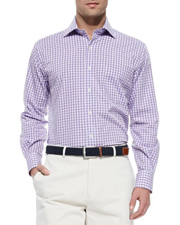 Peter Millar Melange Gingham-Check Sport Shirt, Purple