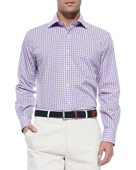 Melange Gingham-Check Sport Shirt, Purple