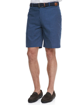 Polka-Dot Linen/Cotton Shorts, Navy