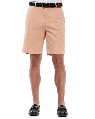 Peter Millar Winston Washed Twill Shorts, Orange