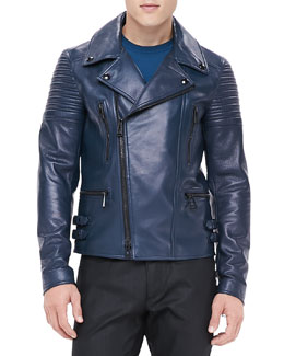 Belstaff Kettering Leather Biker Jacket, Blue
