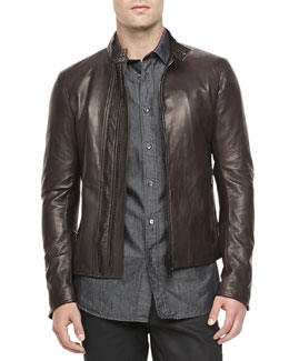 Belstaff Holbrook Leather Moto Jacket, Amarone