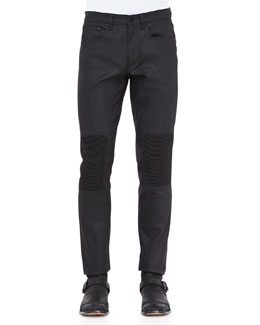 Belstaff Resin-Coated Biker Jeans, Black