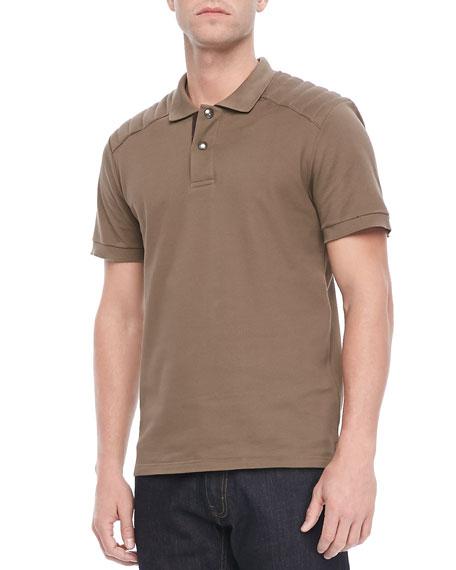 Aspley Textured Jersey Polo, Tan