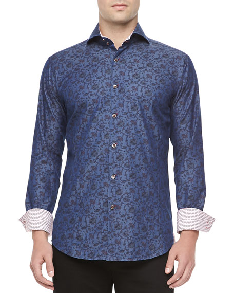 Mateo Long-Sleeve Sport Shirt, Navy