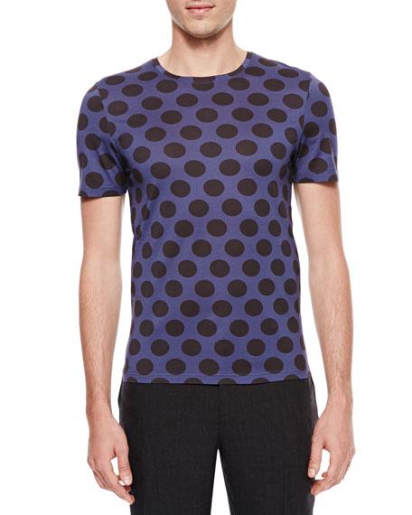 Polka-Dot Crewneck Short-Sleeve T-Shirt, Indigo/Black