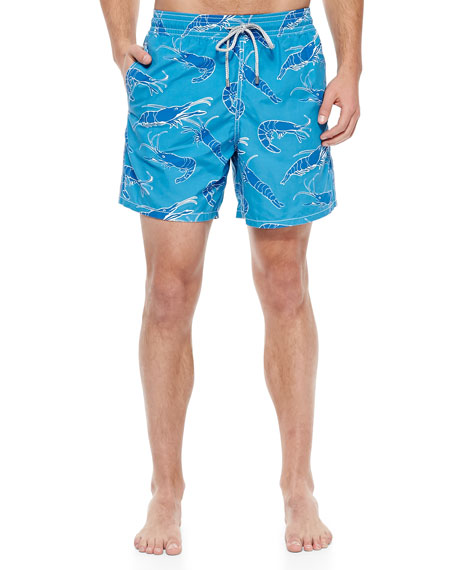 Moorea Shrimp-Print Swim Trunks, Blue