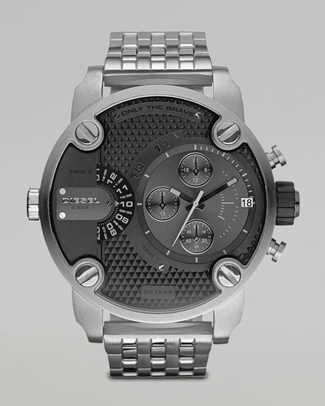 Black Chronograph Watch with Silver Bracelet