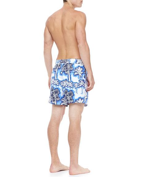 Morea Palm Print Swim Trunk, Blue/White