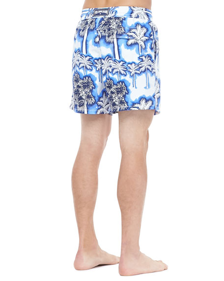 Morea Palm Print Swim Trunk, Blue/White