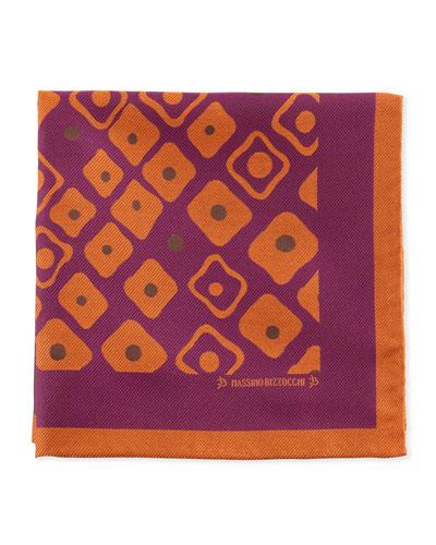 Geometric Pocket Square, Purple/Orange