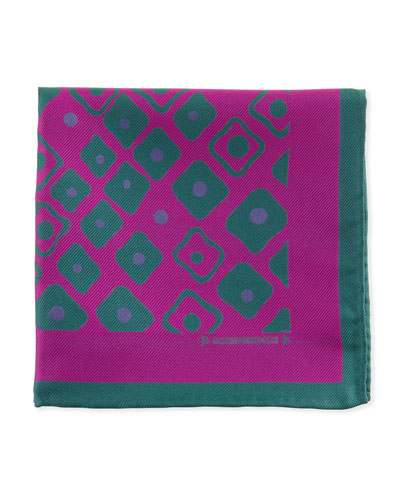 Geometric Pocket Square, Fuchsia/Green