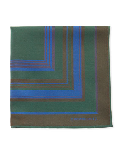 Striped Pocket Square, Green/Blue