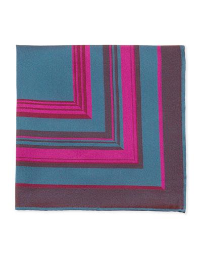 Striped Pocket Square, Fuchsia/Teal