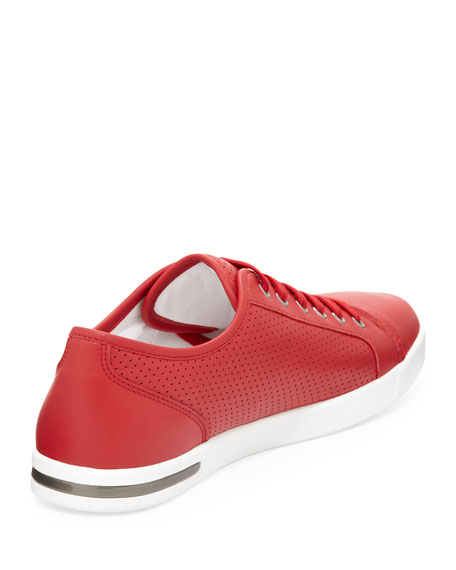 Perforated Leather Low-Top Sneaker, Red