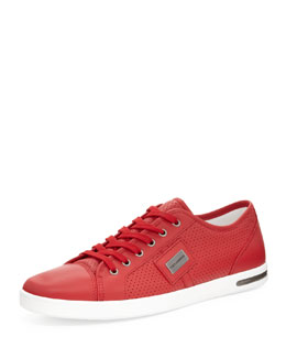 Dolce & Gabbana Perforated Leather Low-Top Sneaker, Red