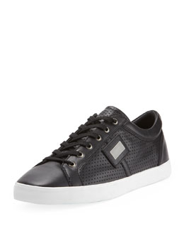 Dolce & Gabbana Logo Plaque Low-Top Sneaker, Black