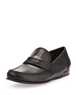 Dolce & Gabbana Brushed Leather Logo Loafer, Black