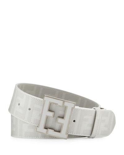 Fendi Men's Zucca FF-Buckle Belt, White