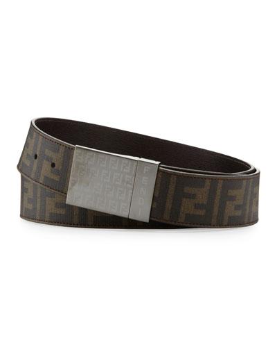 Fendi Men's Reversible Plaque-Buckle Belt, Tobacco