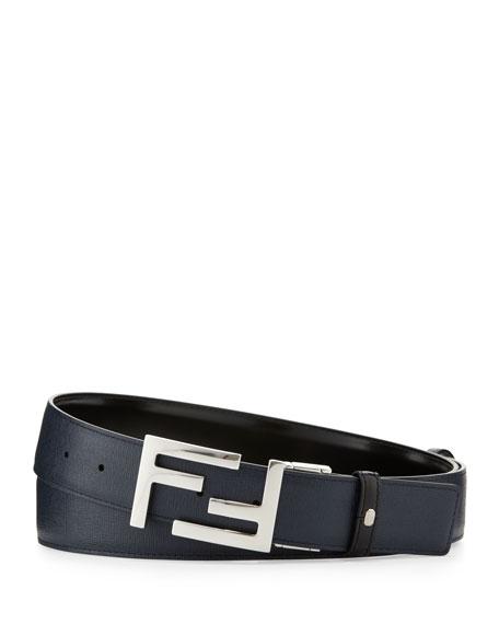 Reversible FF-Buckle Leather Belt, Black/Navy